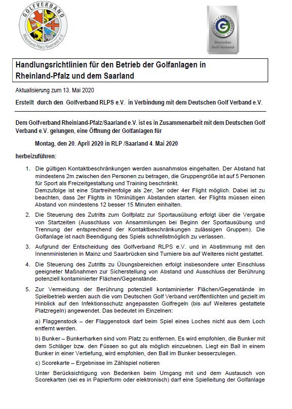 Handlungsrichtlinien ab 13.05.2020