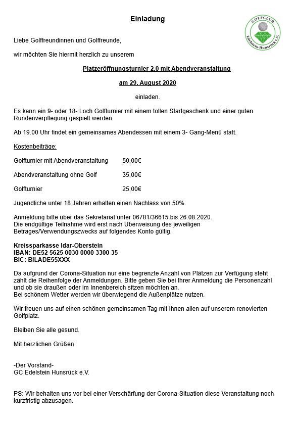Platzeröffnungsturnier mit Abendveranstaltung am 29.08.2020